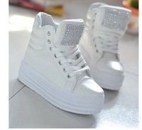 High-top shoes rhinestone paillette casual round toe lacing platform women's shoes FREE SHIPPING.