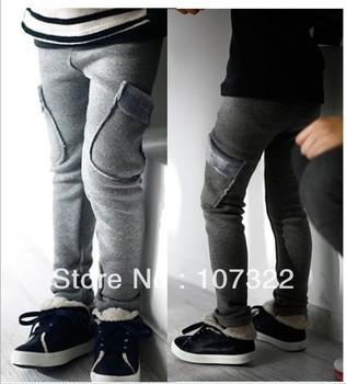 Wholesale fleece feet trousers leggings girls kids baby skinny  boots pants with pocket wear 5pcs/lot  570072J