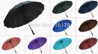 Large Umbrella Men Rain Windproof Golf 16 Ribs/Panels Auto Open Long handled Umbrella + Free Shipping
