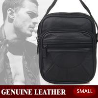 men messenger bags genuine business leather Mobile cow leather small handbag cross body genuine leather bag + pu black 18*15*8CM