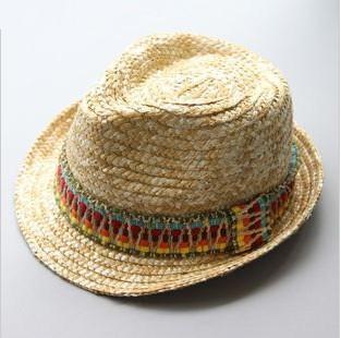 Men's & Ladies'  Straw Hat/ New Arrival Summer Beach Trilby Hat/ Straw Fedora Hat