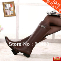 Discount Brand Genuine Leather Women's Knee Boots Fashion Ladies Black/Brown Knight Long Boots Sexy Knee-High Low heeled Boots