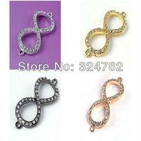 Jewelry Findings Mixed Crystal Rhinestones SideWays  Infinity / 8 shape / Eight Connector Beads making Bracelet Jewelry findings