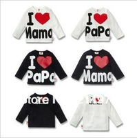 Free shipping ! i love papa mama baby T-Shirt ,Infants & Toddlers T shirt fashion baby t-shirt lowest price!!20pcs/lot