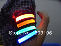 Free shipping LED Armbands Reflective Bands Flashing Safety Velcro Arm Bands Bicycle ArmBands 6 Colors