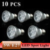 10Pcs /lot High Power E27 3W 5W LED Light White/Warm white LED Bulb Light DownLight AC85-265V