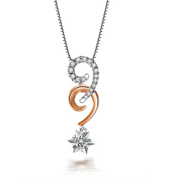 ZOCAI ETERNAL LOVE REAL 0.3 CT DIAMOND 18K WHITE ROSE DUAL COLOR GOLD PENDANT + 925 STERLING SILVER CHAIN NECKLACE
