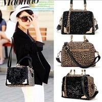 2014 limited none bolsa brand new women handbags sequin leopard messenger shining cross shoulder bag handbag tote free shipping