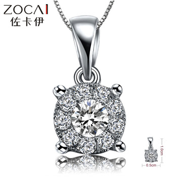 "ZOCAI ""1 CARAT EFFECT"" BRILLIANT LOVE 0.2 CT H DIAMOND18K WHITE GOLD PENDANT + 925 STERLING SILVER CHAIN NECKLACE"