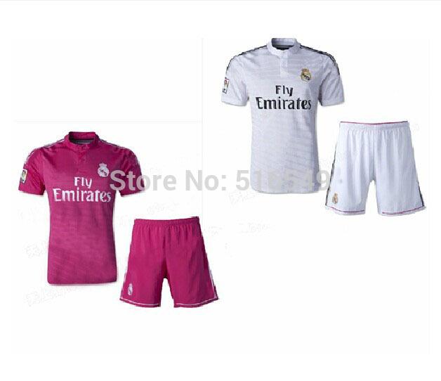 2014 2013 top quality real madrid home away  soccer jerseys kit, OZIL #10 RONALDO #7football shirt &shorts