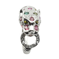 Free shipping Natural multi Tourmaline Gorgeous classic duchess Panther Leopard Ring In Sterling Silver Luxury Gift Birthstone