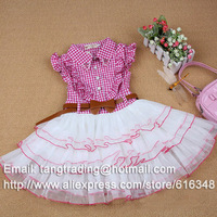 2013 summer  cotton girls clothing red plaid one-piece dresses child tank dress ruffle dress+belt Exclusive manufacture