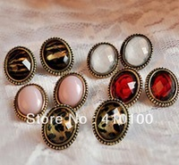J050  Min.order $15 (mix order)  Sexy retro oval Leopard small earrings seven colors earring Free shipping