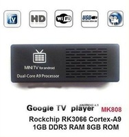 Dual core RK3066 Android 4.1.1  Cortex-A9 DDR3 1 GB RAM 8 GB ROM WIFI MK808 android tv box smart tv dongel Free shipping