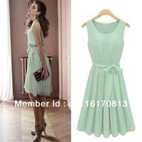 Free Shipping Womens Sleeveless Mint Green Pleated Chiffon Casual Party Lolita Tank Vest Dress With belt US size S M L XL XXL