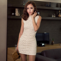 Free shipping  New fashion women's tony Lace dress two colors for choose black White wholesale & retail#12508