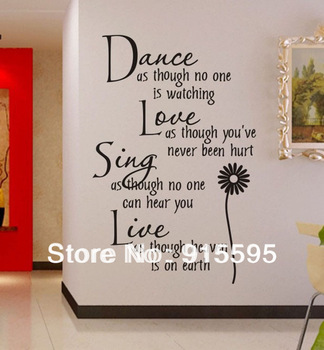 "Free Shipping:Hot Selling Black""Dance Love Sing Live""Wall Stickers English Wall Quotes /Vinyl Wall Home Decor Decals 65*105CM"
