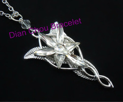 Freeshipping wholesale 20pc a lot Platinum plated The Arwen Evenstar Pendant Crystal stones Necklace from Lord of ring BB10(China (Mainland))
