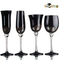 Black Golden Champagne Wine Alcohol Goblet Glasses Cup Bar ware Kitchen Romantic Anniversary Classic Design Taste Free Shipping
