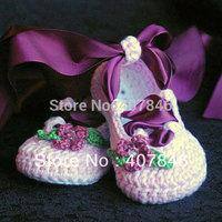 Baby crochet ballet shoes ribbon flower leaf rhinestone first walker shoes 15pairs/lot mix design custom