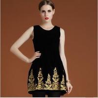 2013 Fashion Ladies Baroque Vintage One-piece Dress/ Elegant Dress With Embroidery/ High Waist Velvet Tank Dress
