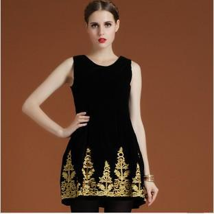 2013 Fashion Ladies Baroque Vintage One-piece Dress/ Elegant Dress With Embroidery/ High Waist Velvet Tank Dress