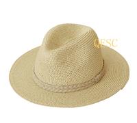 Camel beige mens Fashion straw hat summer hat beach hat.57cm.59cm.61cm.FREE SHIPPING
