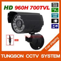 HOT 1/3''Sony 960H CCD Effio 700TVL OSD Menu Small Video Surveillance Outdoor Waterproof IR Night Vision Security CCTV Camera