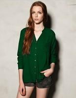 6 Colors Blusas Femininas 2015 GOOD QUALITY Long Sleeve Shirt Women Casual Blusa Chiffon Blouses Shirts Girl camisas femininas