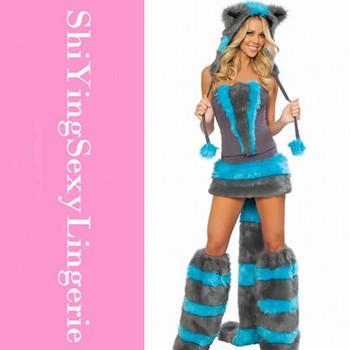 Fur Corset costume, Cheshire Cat Corset Costume LC8523+ Cheaper price + Free Shipping Cost + Fast Delivery