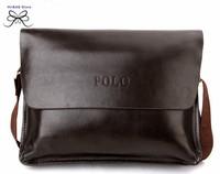 100% genuine leather  polo men's leather bag casual business cross body messenger bag luxury  black man brand designer