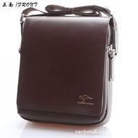 HOT !! 2013 fashion kangaroo kingdom men business messenger bag for men high quality genuine leather crossbody bag brown black
