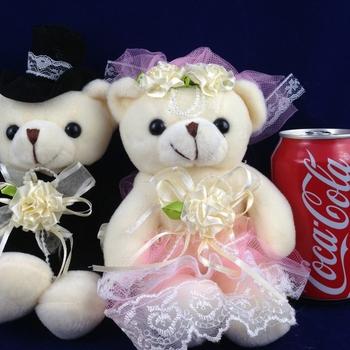 1 pairs 24cm 9'' teddy bear plush toys sitting wedding bear lovers(white pink), high quality stuffed animals bears wedding gift
