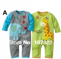 "baby Rompers with "" elephant and giraffe "" animal style toddlers infant romper clothing wear  jumpsuit  girls and boys  691028"