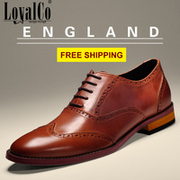 2014 Fashion Male Vintage Carved Leather Casual Lacing Pointed Toe Men's Genuine Leather Shoes