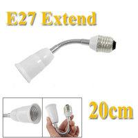 20pcs/Lot LED CFL Halogen Gooseneck light Bulb Lamp Adapter E27 to E27 Base Extend Twist 20cm Extension Converter