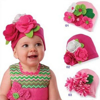 Retail Christmas new arrival Flowers by hand autumn winter baby caps beanies hat toddler boys girls hat infant cap H11