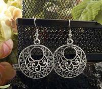 ER316 Wholesale Exotic Round Drop Vintage Dangle earrings Antique Silver fashion Jewelry Jewellery Bijouterie