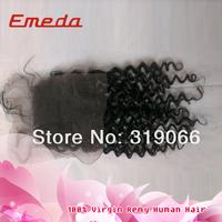 STOCK Cheap Free Part  Brazilian Lace Closure Kinky Curly 8-20 inch Brazilian Human Hair Free Shipping