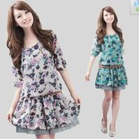 XL~4XL Lady Plus Size Half Sleeve Floral Printed Dropped Waist Peplum Elegant Summer Dress New Flower Knee Length Chiffon Dress