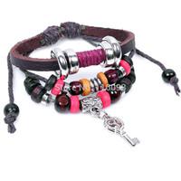 fashion leather bracelet girl key charm wooden beads bracelet