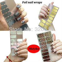 Free Shipping 2packsX18Styles Fashion Foil Nail Wraps Stickers Minx Gold Silver Shiny Self Adhesive Nail Patch Decorate MY-045