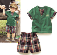 Green plaid baby boys suits/Baby top+ plaid short pant/Print Bike design/2013 Popular New Arriver