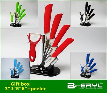 """Берилл 6 шт. подарочный комплект, 3 """" + 4 """" + 5 """" + 6 """" + нож + держатель ножа керамический нож устанавливает 5 цветов прямая ручка, белый лезвие, CE FDA сертифицированным"""