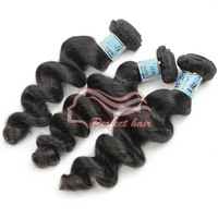 Cheap bundles peruvian hair loose wave virgin human hair extension virgin peruvian loose hair 4pc/lot natuarl color 1b