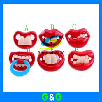 OWIND 2014 New arrival  retail 1pcs/lot red teeth shape silicon material baby pacifier funny dummy baby soother