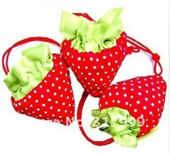 10pcs/Lot Foldable Strawberry Shopping Bag Several Colors Wholesale E011(China (Mainland))