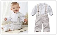 Fashion strap set /Baby boy set: white shirt + plaid strap pants/Gentleman outfit in British style