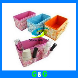 Free shipping Hot selling Fashion make up cosmetic storage box of desktop storage bags cases 5pcs/lot(China (Mainland))