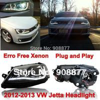 For VW MK6 LED Headlight 2011-2014 VW Jetta Sagitar Headlight with Angel Eye and Bi-xenon Projector